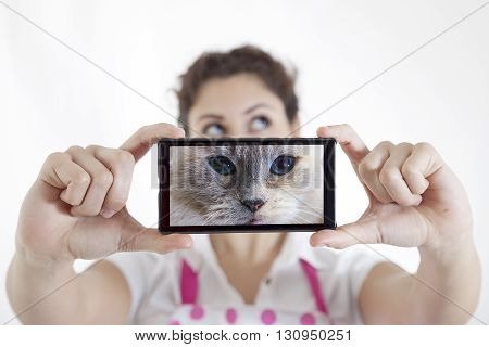 Beautiful Young Woman Takes A Selfie And Become A Cat