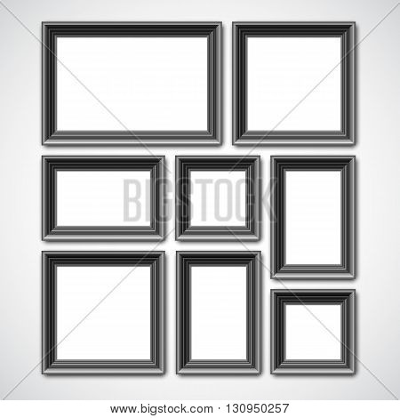 Collafe of black picture frames or borders for photo or painting