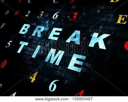 Time concept: Pixelated blue text Break Time on Digital wall background with Hexadecimal Code