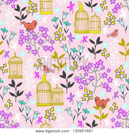 seamless pink pattern with flowers and birds