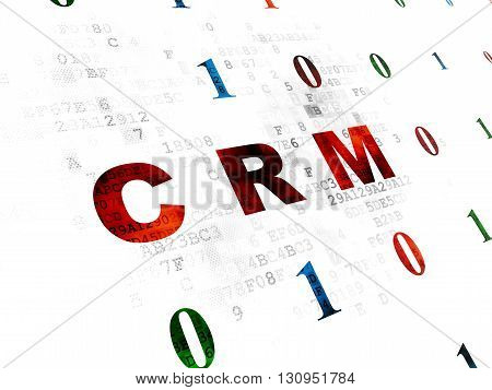 Business concept: Pixelated red text CRM on Digital wall background with Binary Code