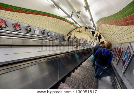 London Underground People On Escalators