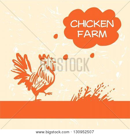 Vector Logo. Chicken And Hen Farm. Products From Chicken Meat An