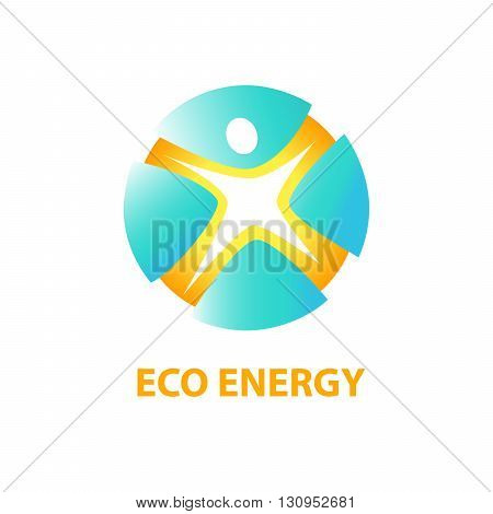 Vector Logo With Symbols Of Eco Energy From Natural Resources An