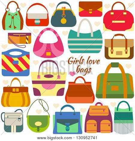 Set of flat icons. Different women bags and place for your text.