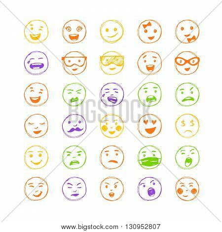 Set of hand drawn color lines smiles. Vector elements for emotion internet web icons.