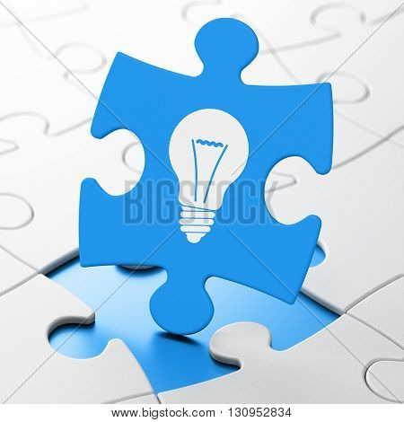 Business concept: Light Bulb on Blue puzzle pieces background, 3D rendering