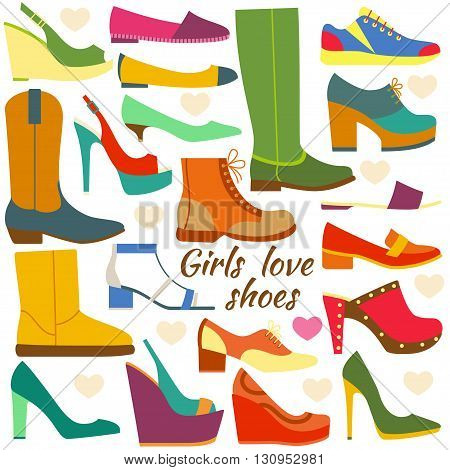 Set of colorful flat icons. Different women shoes. Vector illustration