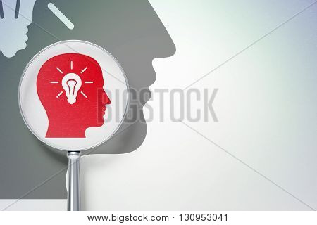 Finance concept: magnifying optical glass with Head With Light Bulb icon on digital background, empty copyspace for card, text, advertising, 3D rendering