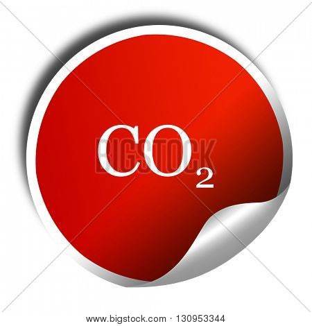 CO2 warning sign, 3D rendering, red sticker with white text