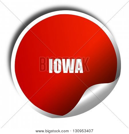iowa, 3D rendering, red sticker with white text