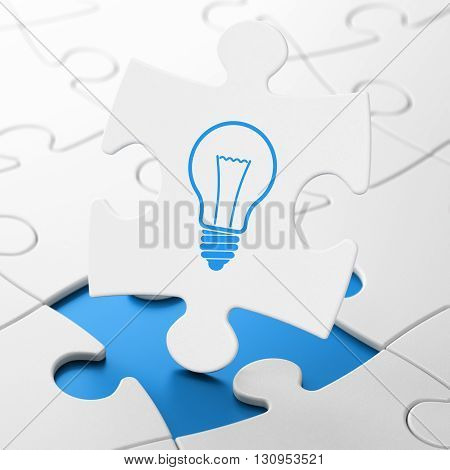 Finance concept: Light Bulb on White puzzle pieces background, 3D rendering