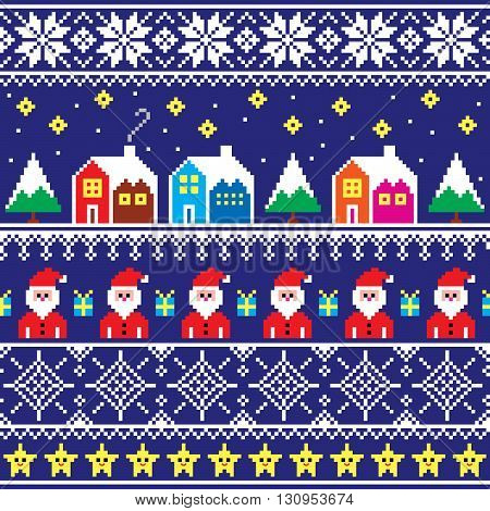 Christmas jumper or sweater seamless pattern with Santa and houses