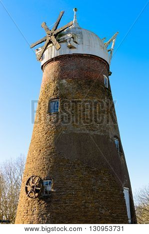 WYMONDHAM ENGLAND - JANUARY 15: Side view of the windmill at Wymondham. In Wymondham England on 15th January 2016.