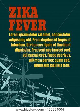 Modern vector brochure report or flyer design template. Medical industry biotechnology and biochemistry. Scientific medical designs. Mosquito transmission diseases relative theme. Zika fever