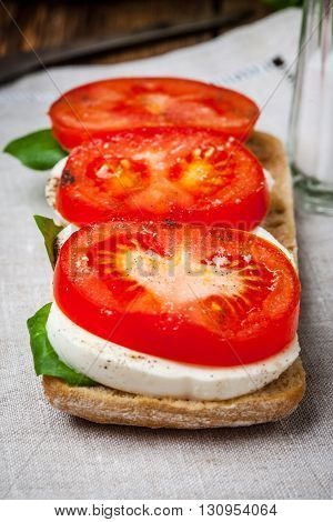 Ciabata With Mozzarella, Tomato And Basil