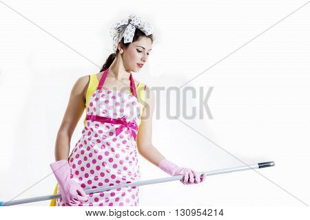 Cleaning Lady Dreams Of Playing Guitar With The Broom Handle