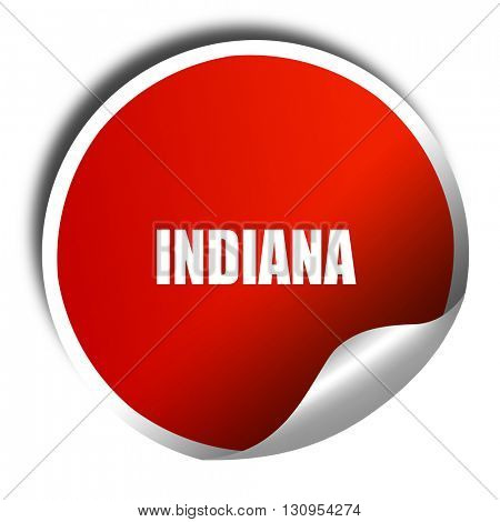 indiana, 3D rendering, red sticker with white text