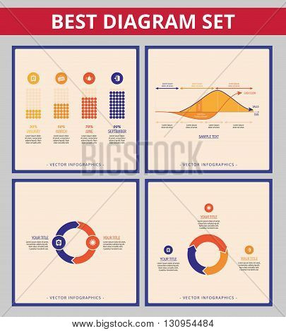 Business diagram set. Templates for line chart, cycle diagram and bar chart