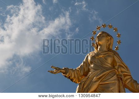 Madonna Golden Statue Perfect Bronze Replica in Milan Italy