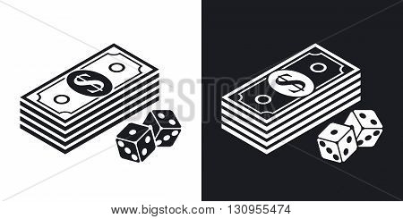 Vector bundle of dollars and dices icon. Two-tone version on black and white background