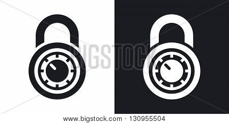 Vector combination lock icon. Two-tone version on black and white background
