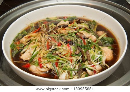 A Chinese style steamed fish in soy sauce