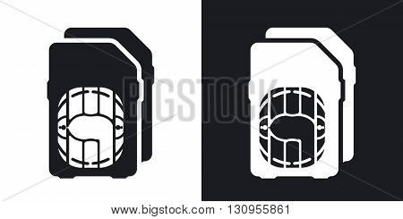 Vector Dual SIM cards Icon. Two-tone version on black and white background