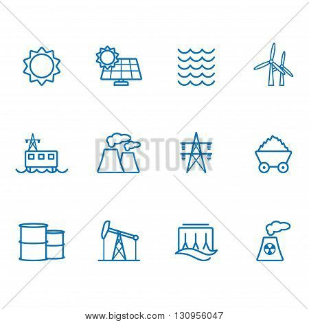 Power generator blue line icons set 12