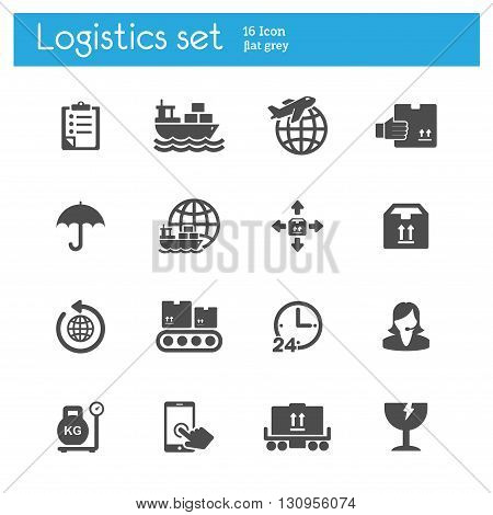 Logistics flat gray icons set of 16