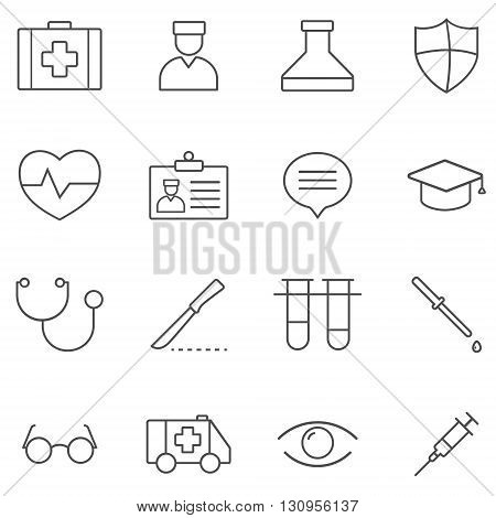 Medicine Line gray icons set of 16