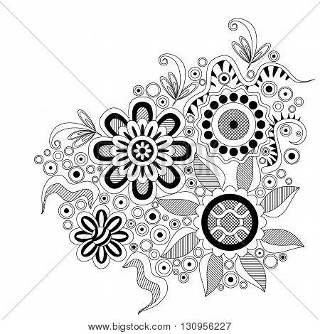 Abstract Outline Ornament, Contour Black and White Floral Pattern on White Background. Vector