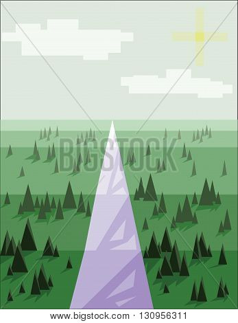 Abstract landscape with pine trees snow sun and purple road over a light green background. Digital vector image.