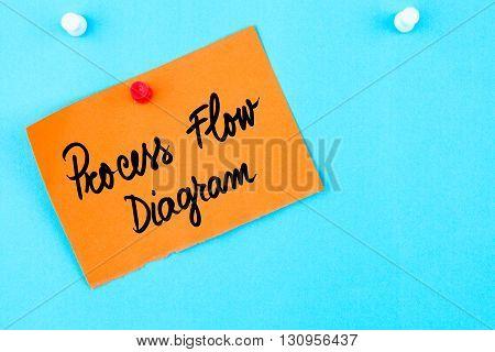 Process Flow Diagram Written On Orange Paper Note