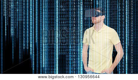 3d technology, virtual reality, programming, entertainment and people concept - young man with virtual reality headset or 3d glasses over blue binary code numbers and black background