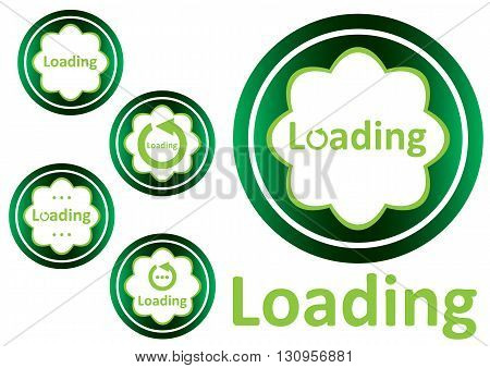 Clipart with green icons with a loading symbol