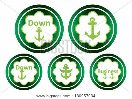 Clipart with green icons with an anchor symbol