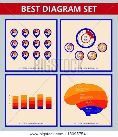 Business diagram set. Templates for speedometer diagram, bar chart and brain silhouette diagram