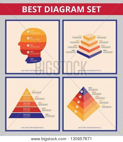 Business diagram set. Editable templates for stacked pyramid chart and head silhouette diagram