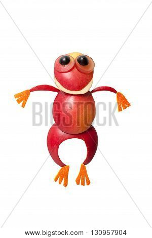 Frog made of red apple on isolated background
