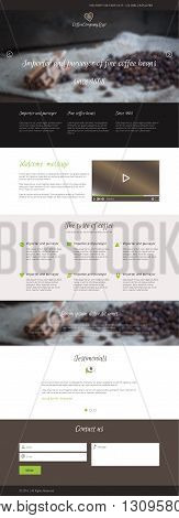 Flat design coffee company web landing page with coffee logo, video player and icons