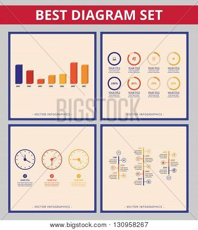Business diagram set. Templates for clock dial diagram, doughnut chart, timeline diagram and bar chart