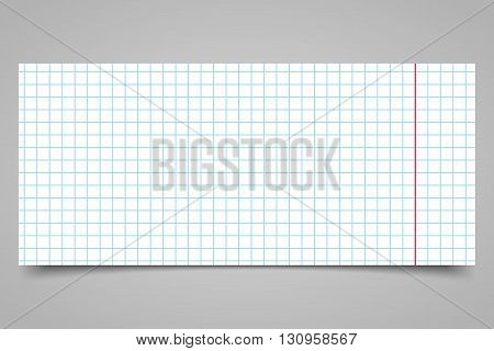 White squared paper sheet on a gray background