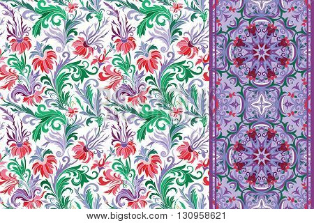 Seamless floral patterns set. Vintage hand drawing flowers backgrounds and borders. Vector ornaments. Pink lilac violet green tone.