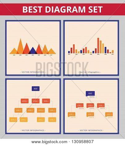 Business diagram set. Editable infographic templates for tree diagram and bar chart