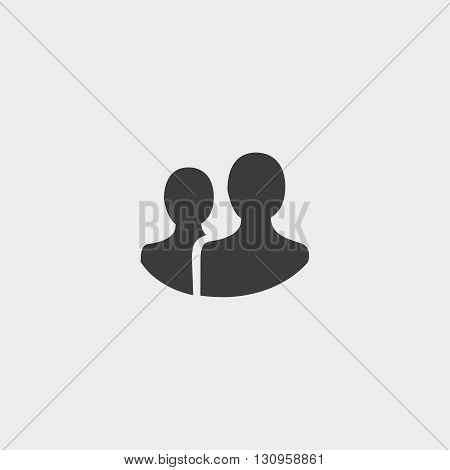 People icon in a flat design in black color. Vector illustration eps10
