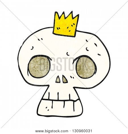 freehand textured cartoon skull with crown