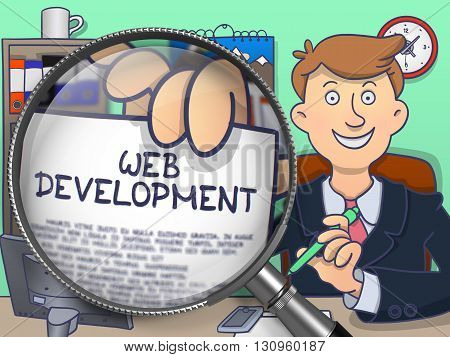 Officeman in Office Holding a Paper with Text Web Development. Closeup View through Magnifier. Multicolor Modern Line Illustration in Doodle Style.