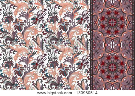Seamless floral patterns set. Vintage hand drawing flowers backgrounds and borders. Vector ornaments.