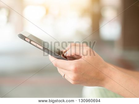 Woman touch on phone